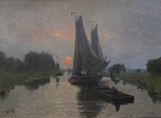 Ships sailing at sunset by Willem Cornelis Rip