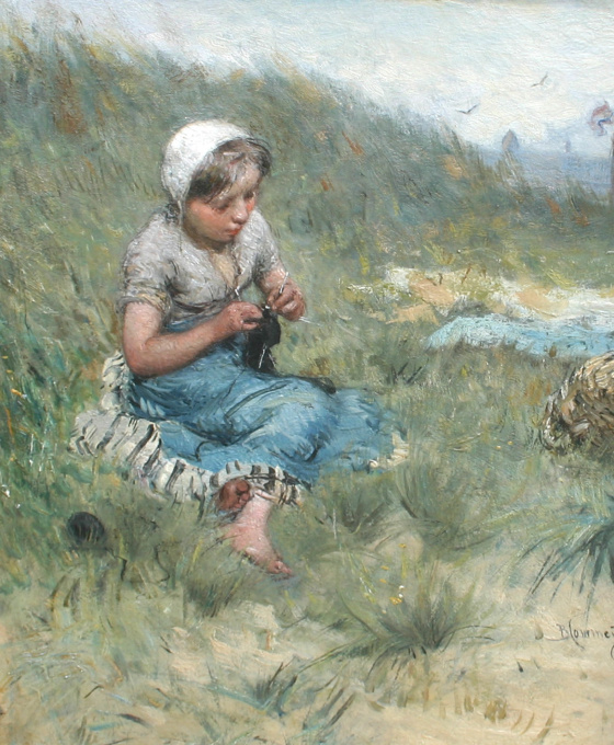 Duinlandschap met breiend meisje by Bernardus Johannes Blommers