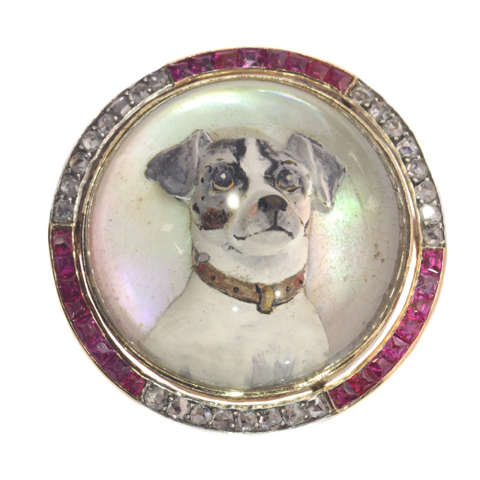 Gold diamond hunting brooch English Crystal with picture of Jack Russel Terrier by Unknown Artist