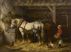 Two horses in a stable by Willem Johan Boogaard