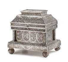 A DUTCH-COLONIAL SILVER FILIGREE CASKET by Unknown Artist