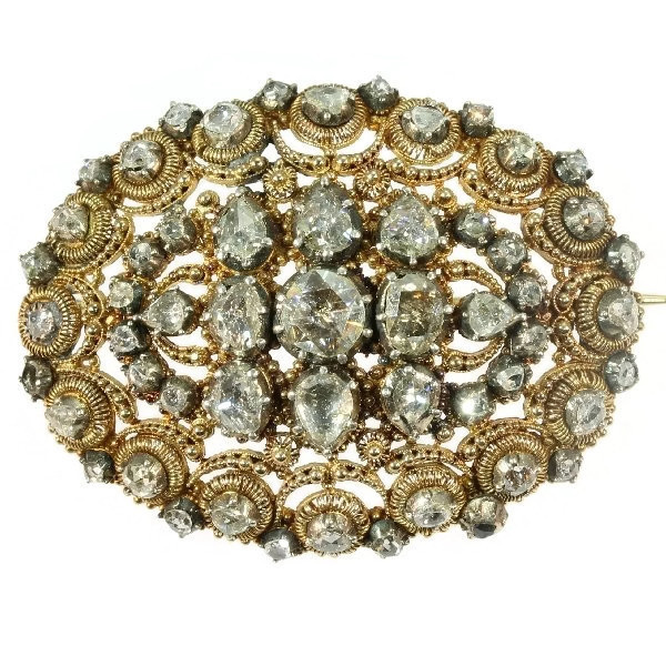 Antique Dutch brooch in unusual design with filigree and rose cut diamonds by Unknown Artist