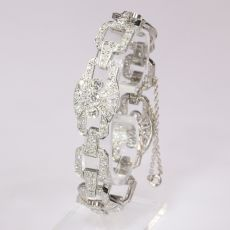 Authentic Art Deco platinum diamond bracelet 9.60 crt total diamond weight by Unknown Artist