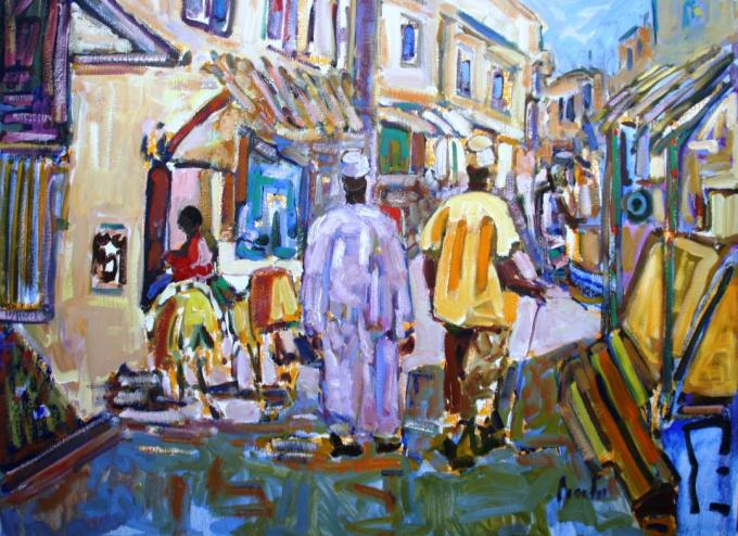 Scene mainstreet Lamu Town by Frans Bianchi