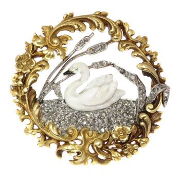 Late Victorian, early Art Nouveau French brooch enameled swan on diamond lake by Unknown Artist