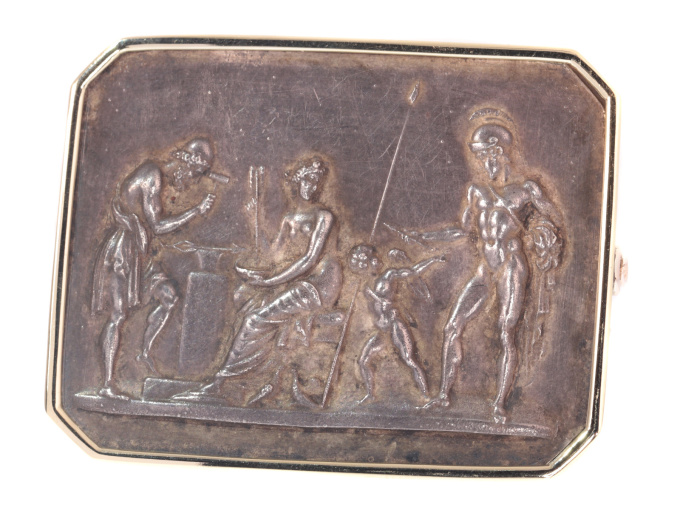 Antique gold and electroplated brooch Thorvaldsen's Venus, Mars and Vulcan by Unknown