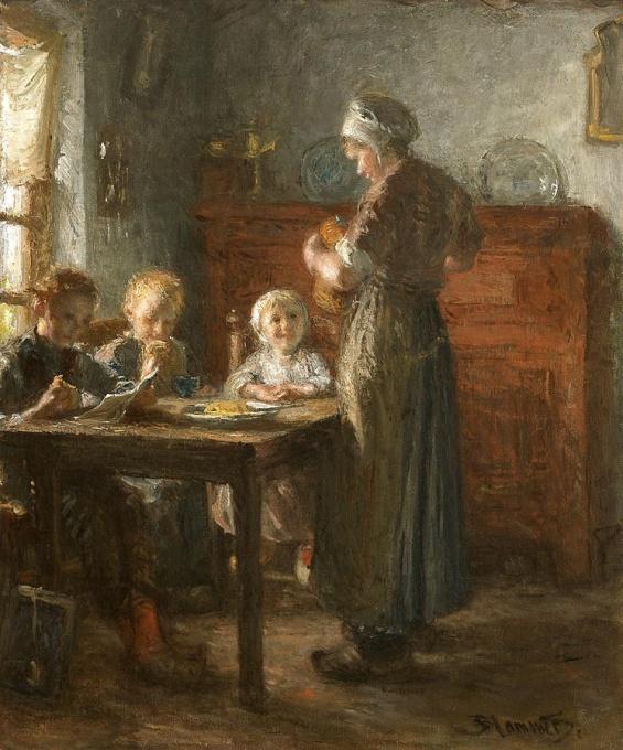 De broodmaaltijd by Bernardus Johannes Blommers