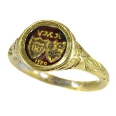 Renaissance brotherhood ring with two coat of arms behind transparant window by Unknown Artist