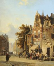 A street scene with musician