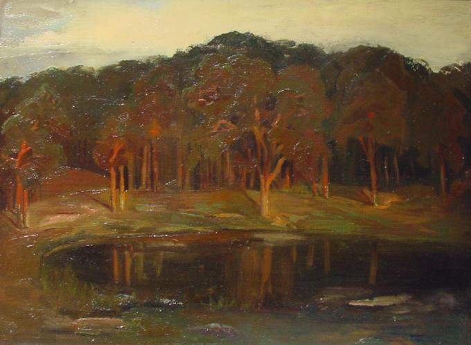 Rising sun over small lake by Harrie Kuyten