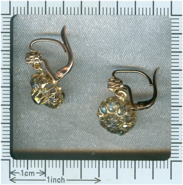 Antique vintage diamond earrings by Unknown Artist