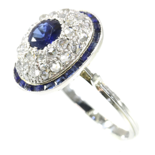Vintage Art Deco diamond and sapphire engagement ring by Unknown