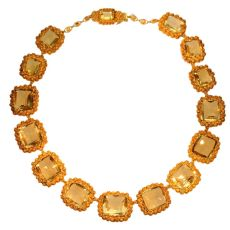 Antique necklace gold cannetille filigree work with 15 big citrine stones by Unknown Artist