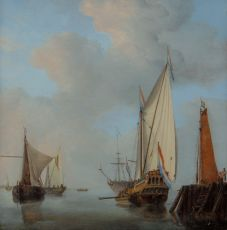 A Yacht and Other Vessels off a Jetty on Calm Waters by Willem van de Velde the Younger