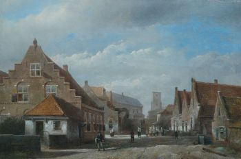 A view of old Katwijk by Kaspar Karsen