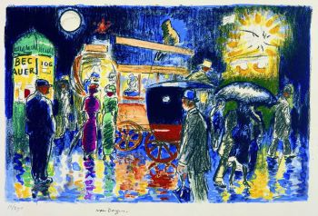 Place Pigalle at night by Kees van Dongen