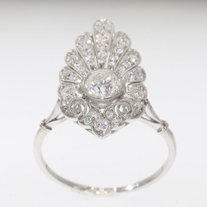 French elegant Belle Epoque diamond engagement ring platinum by Unknown Artist