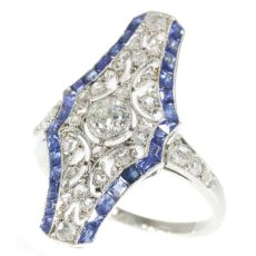Vintage Art Deco platinum diamond and sapphire engagement ring by Unknown Artist