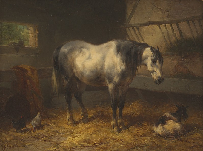 A resting horse in a stable by Wouterus Verschuur