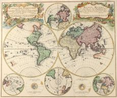 Old Map of the world by Homann Heirs