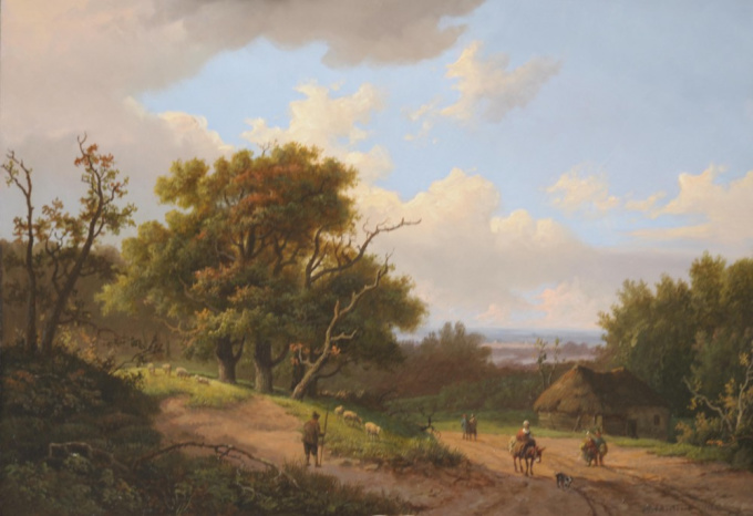 A wooded landscape with a sheperd and his flock by Marinus Adrianus I Koekkoek