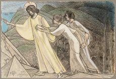 Christ leading the souls past sharp rocks by Jan Toorop