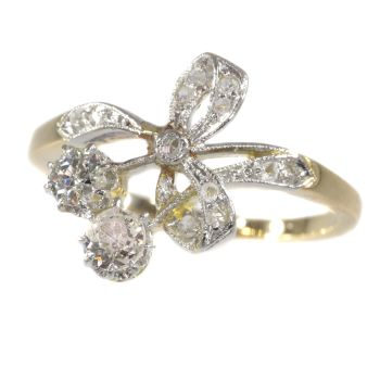 Charming Belle Epoque ring with diamonds by Unknown Artist