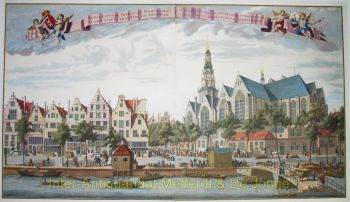 Amsterdam,  Oudezijds voorburgwal, Oude Kerk by Abraham Rademaker-