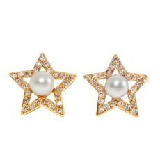 Gold Star Studs with Diamonds and Pearls