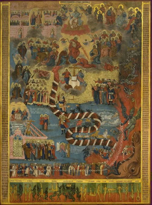 Majestic Last Judgement icon, 18th century by Unknown Artist