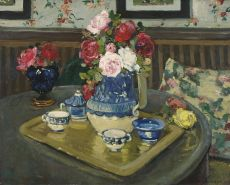 Still life with roses on table