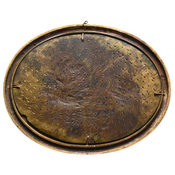 A French Empire bronze and gilded oval plaque with Cybele by Unknown Artist