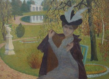 Élégante à la cape (Elegant lady with a cloak) by Albert Clouard
