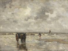 A shrimper in sea by Gerhard Arij Ludwig 'Morgenstjerne' Munthe