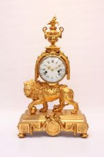 A large French Louis XVI ormolu 'lion' mantel clock, circa 1760 by Unknown Artist