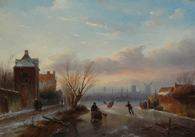 Skaters on a frozen river with a town in the distance by Jan Jacob Spohler