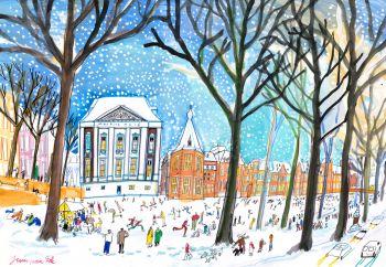 Hofvijver in winter, Den Haag by Guus van Eck