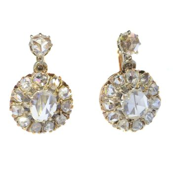 Vintage antique diamond earrings with rose cut diamonds by Unknown Artist