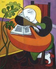 Sleeping woman with book