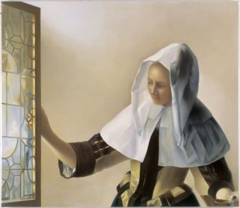 'Woman with white Headdress' after Vermeer by Mary Alacoque Waters