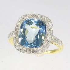 Art Deco Vintage Belle Epoque engagement ring with diamonds and high quality aquamarine by Unknown Artist