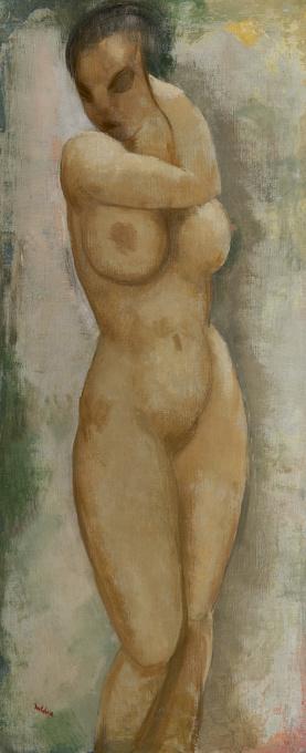 Naked woman standing by Toon Kelder