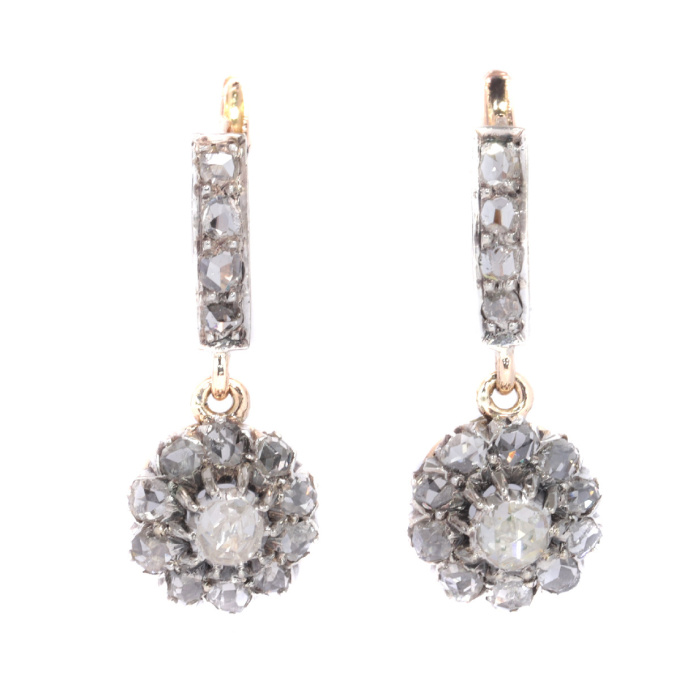 Antique rose cut diamond earrings by Unknown