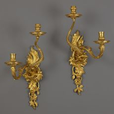 Pair of French Early Ormolu Wall Sconces