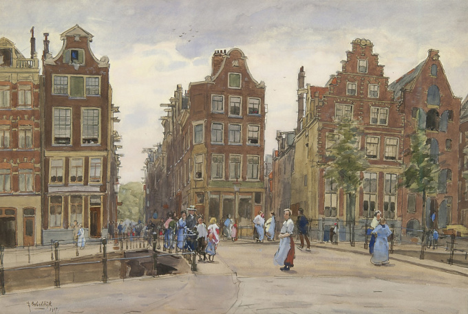 The Geldersekade with the Bantammerbrug, Amsterdam by Felicien Bobeldijk