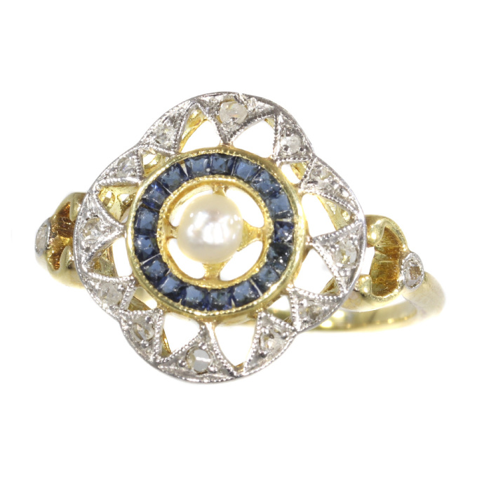 Art Deco - Belle Epoque ring with diamonds sapphires and a pearl by Unknown