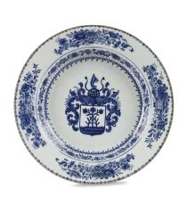 A CHINESE ARMORIAL EXPORT BLUE AND WHITE 'SCHREUDER' PLATE by Unknown Artist