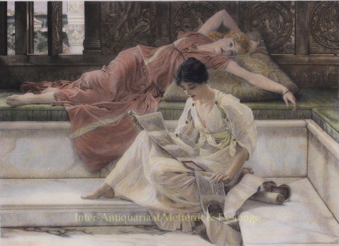 A FAVOURITE POET   by Lawrence Alma-Tadema