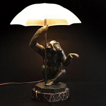 Tablelamp art deco monkey with umbrella by Artus ( Max le Verrier)