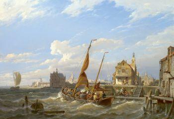 A ferry in an estuary by Pieter Cornelis Dommershuijzen